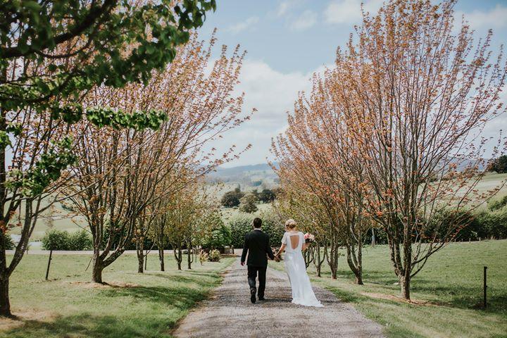 FB Bride and Groom walking lane Nest I